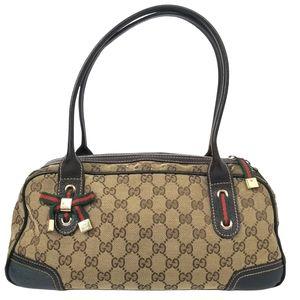 Gucci Monogram Brown Boston Bag Authentic GG Canvas Satchel